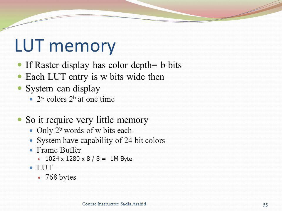 LUT memory If Raster display has color depth= b bits