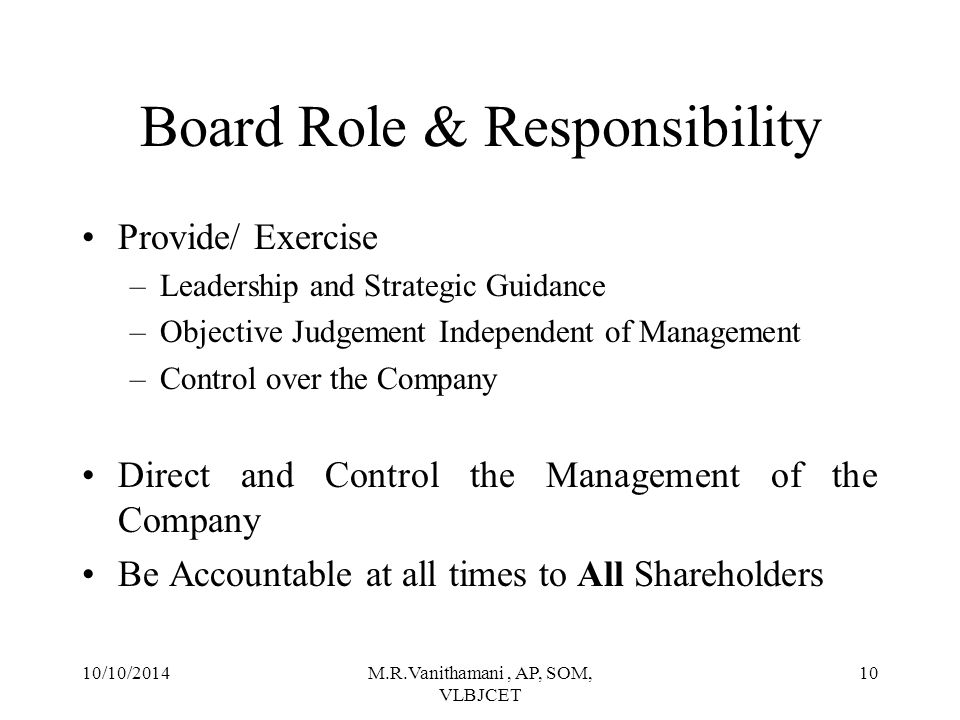 Board Role & Responsibility