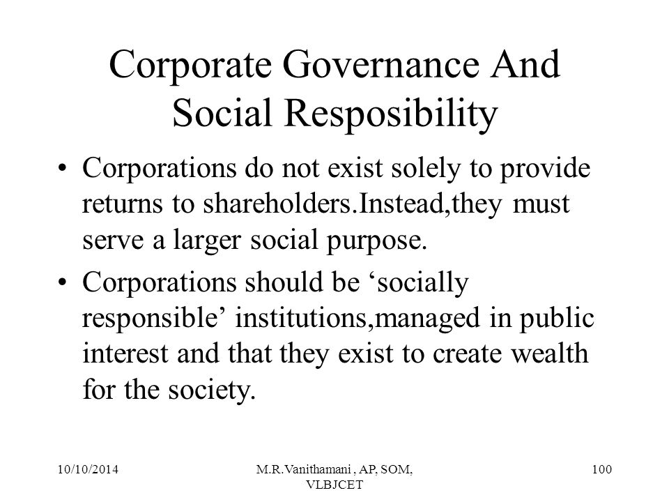 Corporate Governance And Social Resposibility