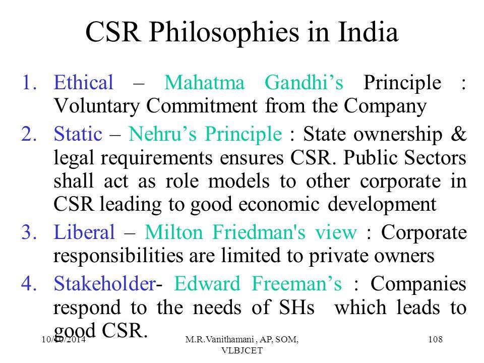 CSR Philosophies in India