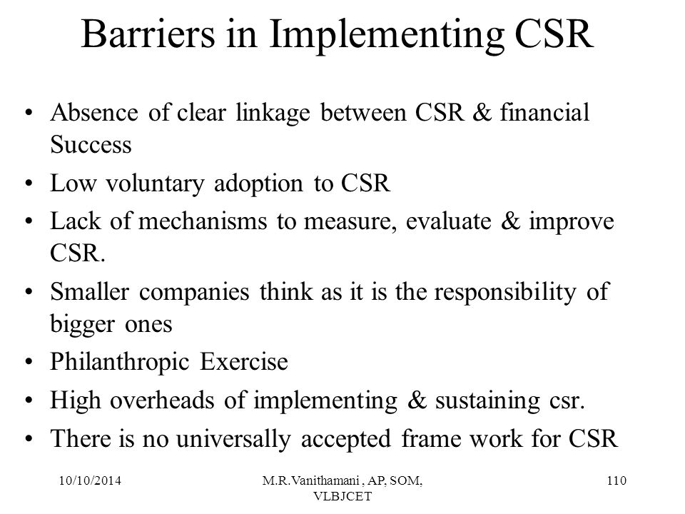 Barriers in Implementing CSR