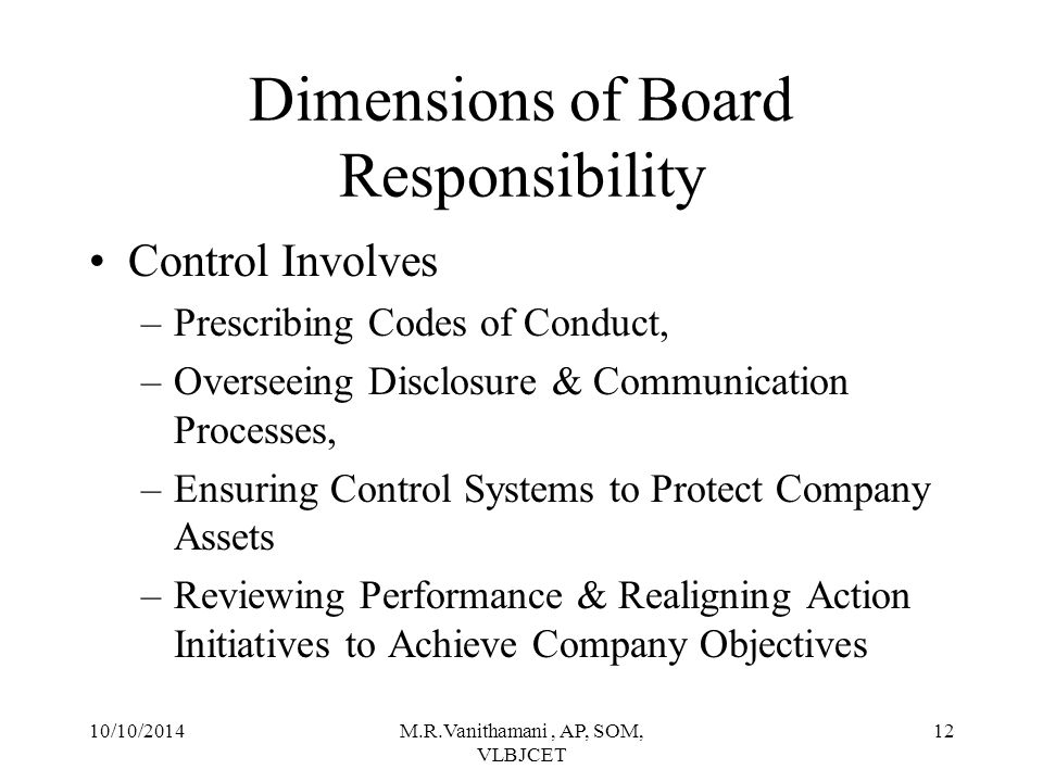 Dimensions of Board Responsibility