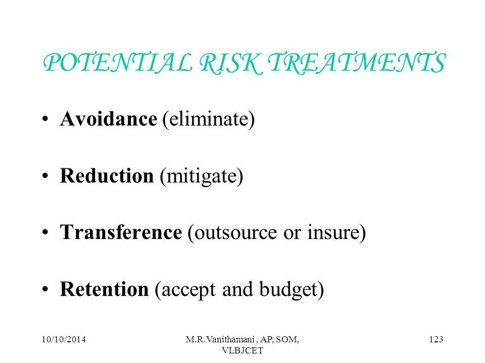 POTENTIAL RISK TREATMENTS