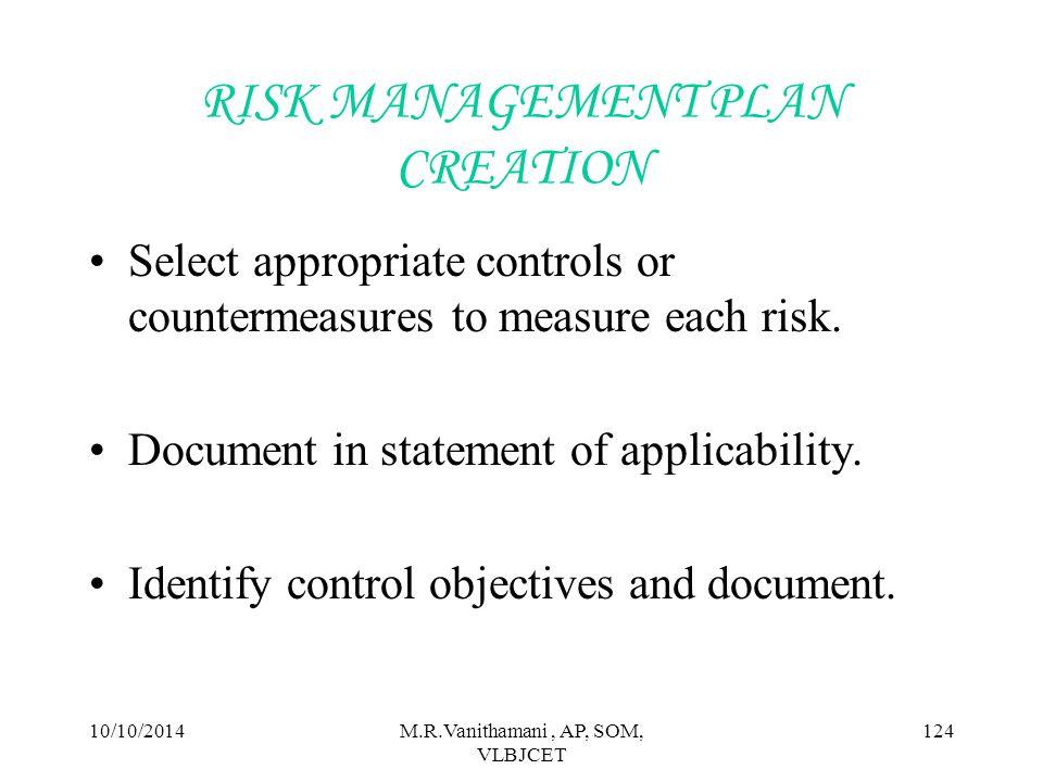 RISK MANAGEMENT PLAN CREATION