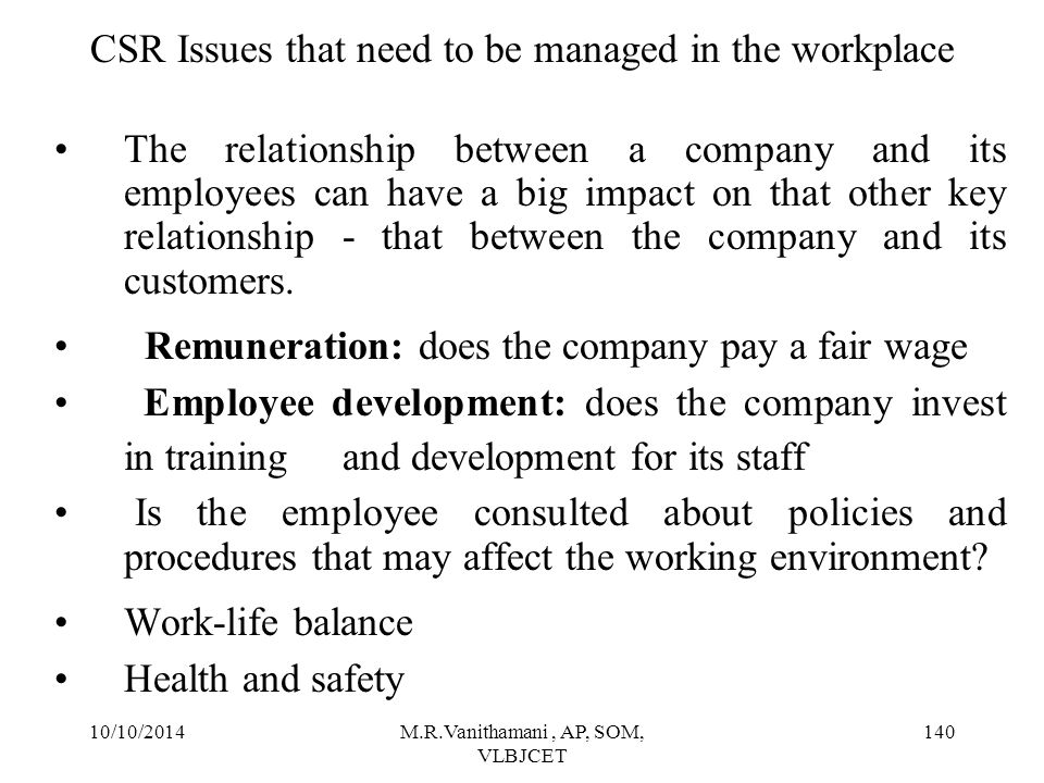 CSR Issues that need to be managed in the workplace