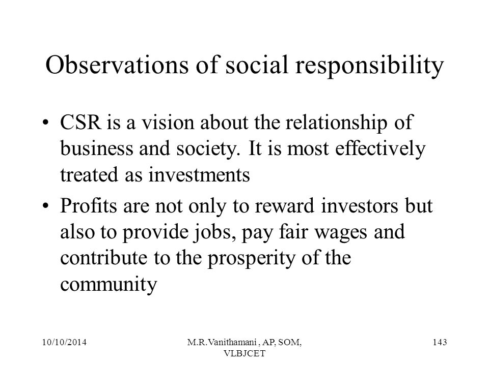 Observations of social responsibility