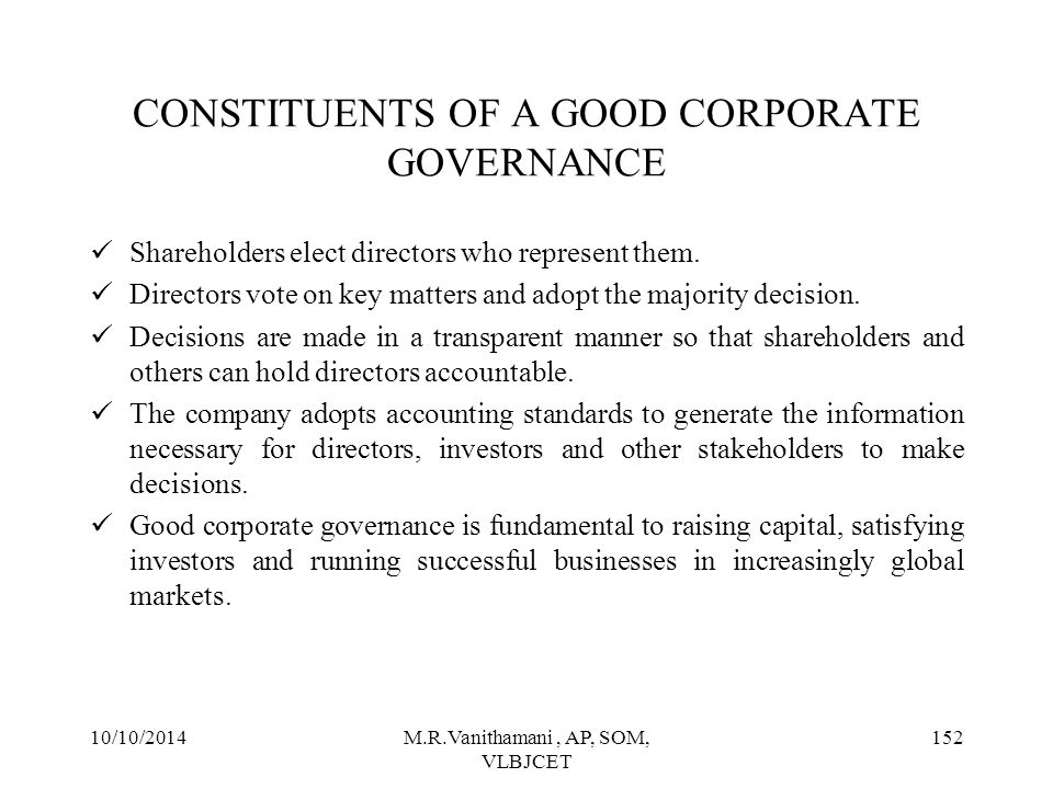 CONSTITUENTS OF A GOOD CORPORATE GOVERNANCE