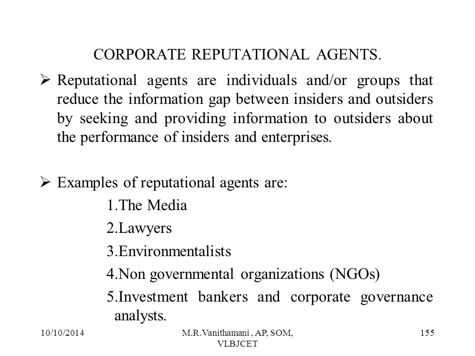 CORPORATE REPUTATIONAL AGENTS.