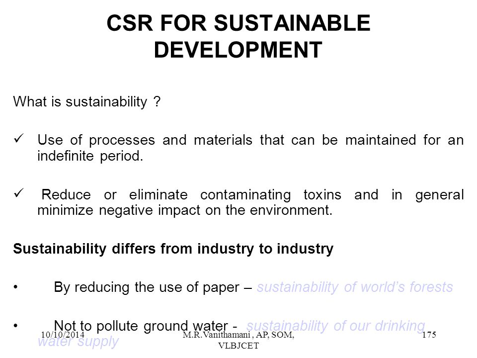 CSR FOR SUSTAINABLE DEVELOPMENT