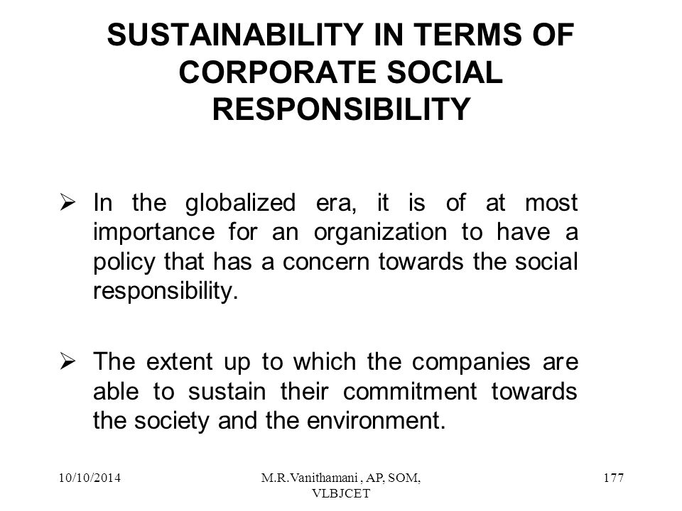 SUSTAINABILITY IN TERMS OF CORPORATE SOCIAL RESPONSIBILITY