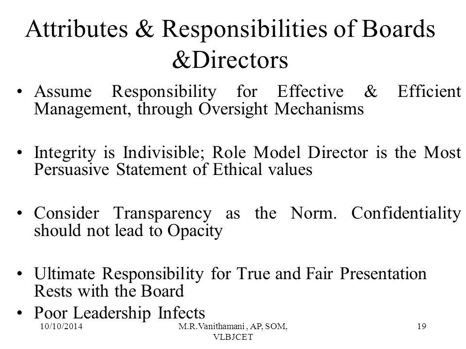 Attributes & Responsibilities of Boards &Directors