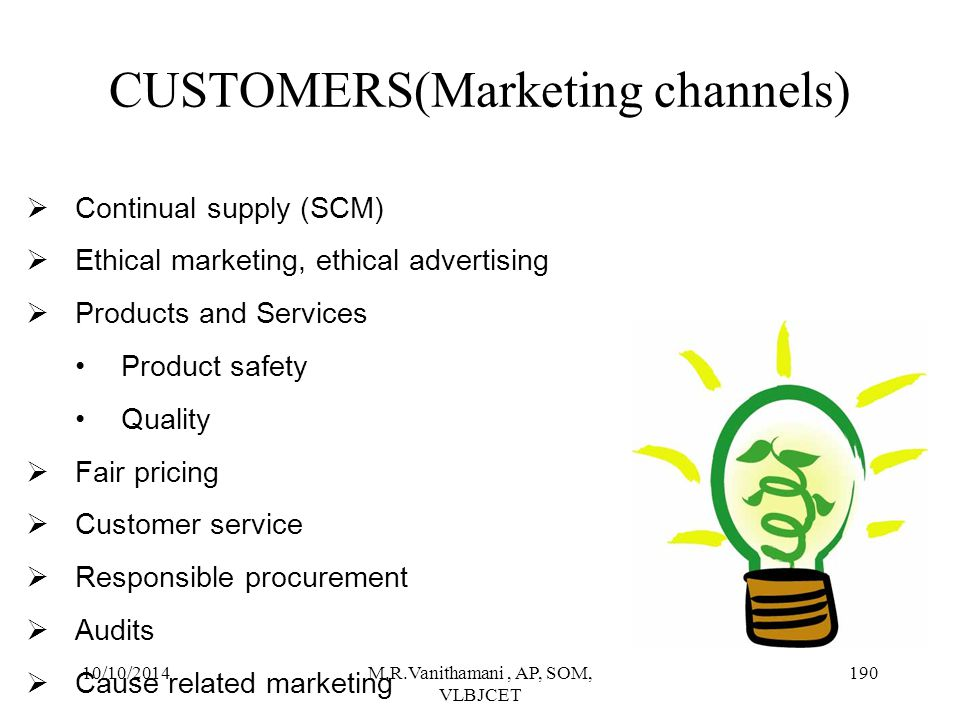 CUSTOMERS(Marketing channels)