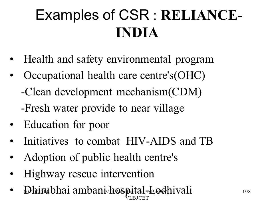 Examples of CSR : RELIANCE-INDIA