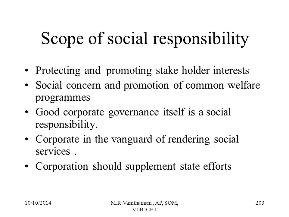 Scope of social responsibility