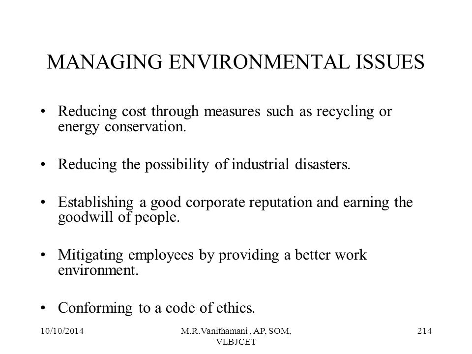 MANAGING ENVIRONMENTAL ISSUES
