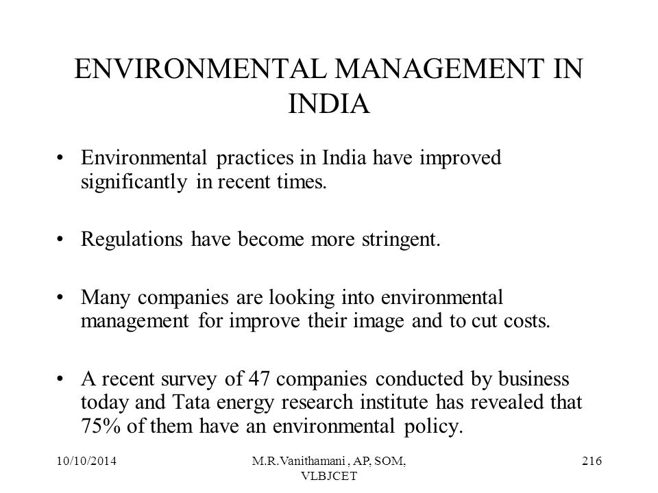 ENVIRONMENTAL MANAGEMENT IN INDIA