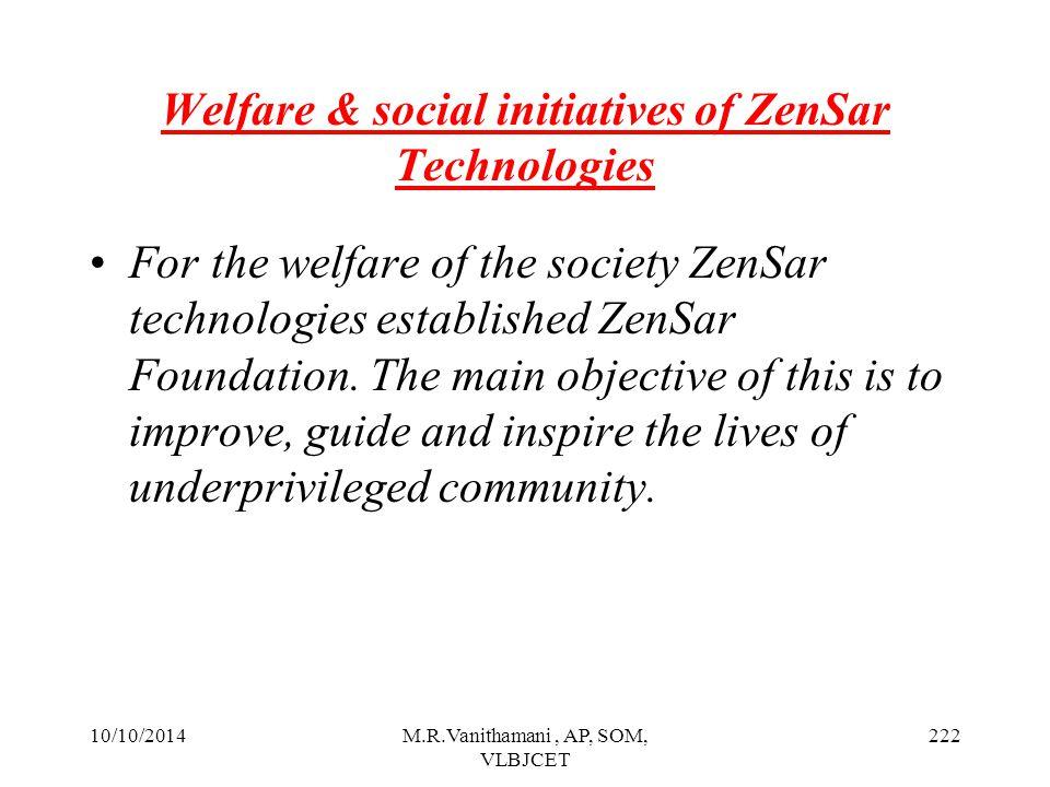 Welfare & social initiatives of ZenSar Technologies