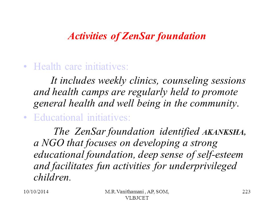 Activities of ZenSar foundation