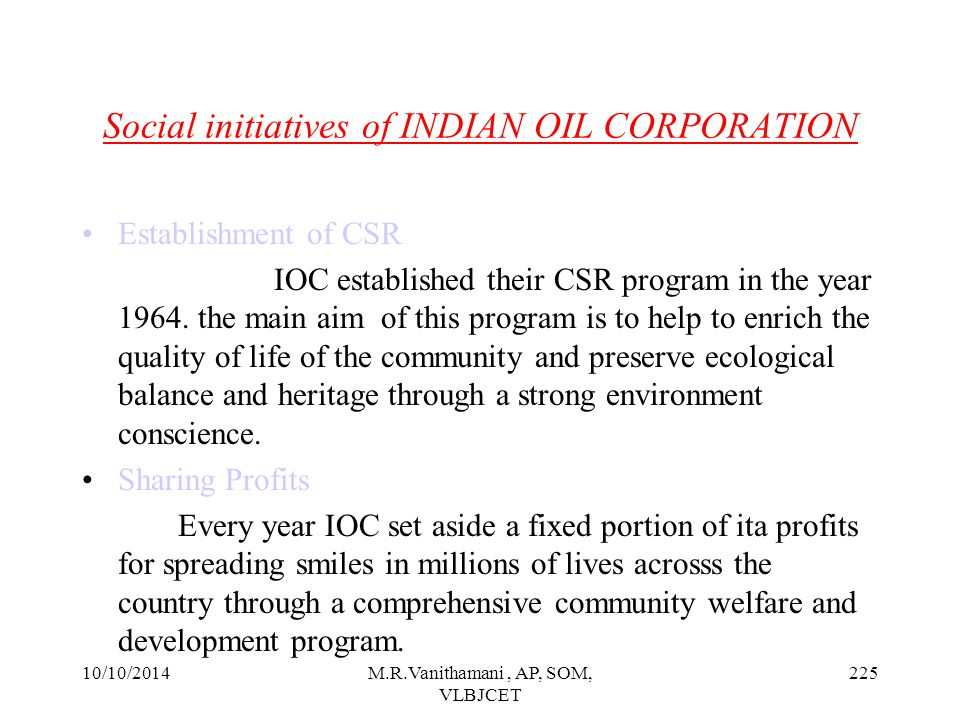 Social initiatives of INDIAN OIL CORPORATION