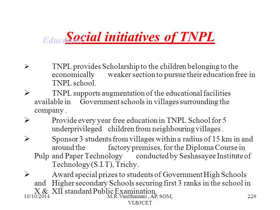 Social initiatives of TNPL