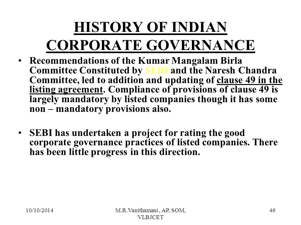 HISTORY OF INDIAN CORPORATE GOVERNANCE