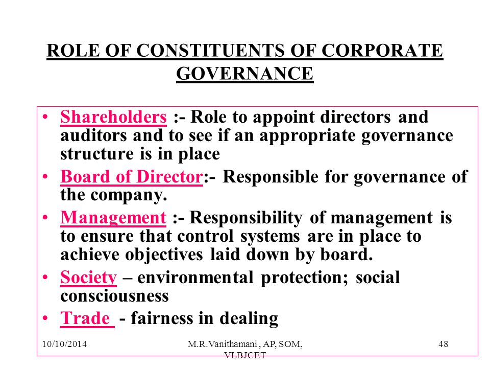 ROLE OF CONSTITUENTS OF CORPORATE GOVERNANCE