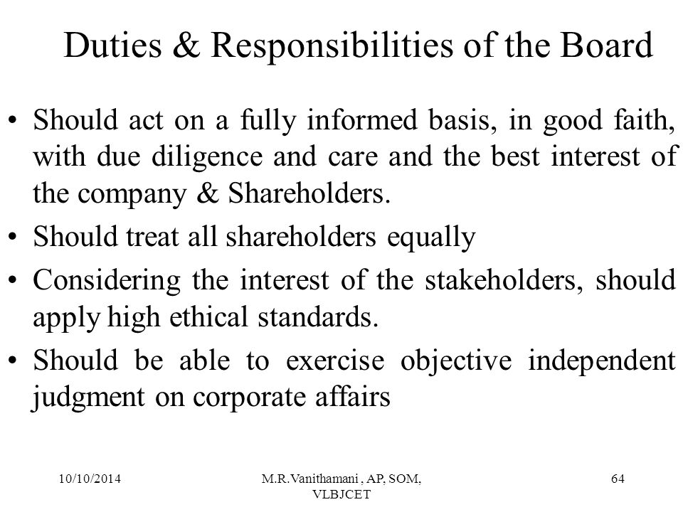 Duties & Responsibilities of the Board