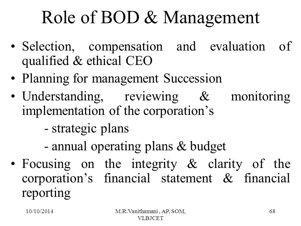 Role of BOD & Management