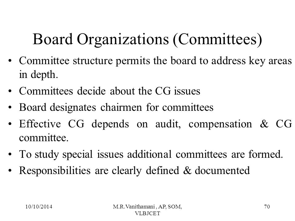 Board Organizations (Committees)