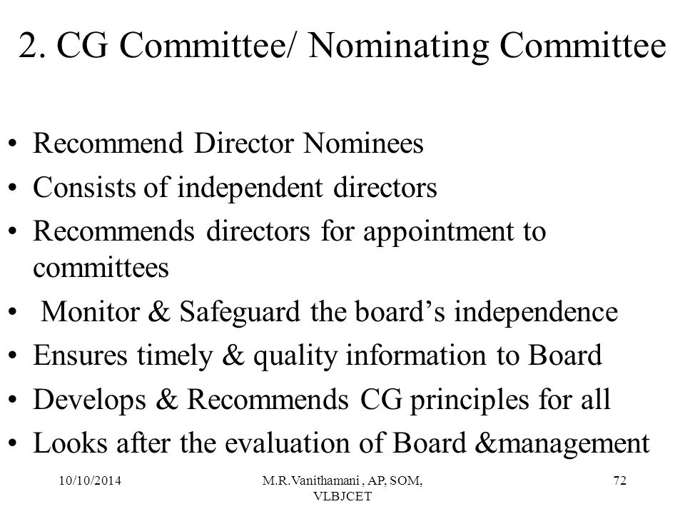 2. CG Committee/ Nominating Committee