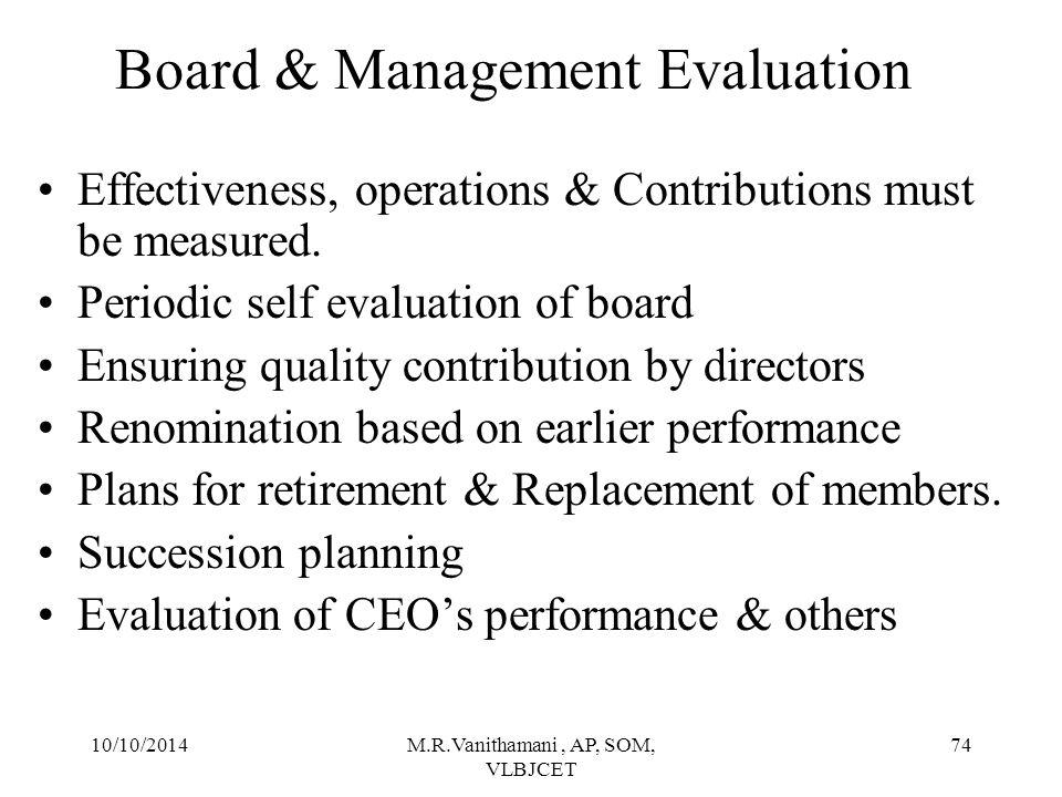 Board & Management Evaluation