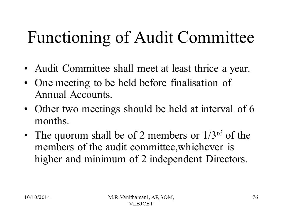 Functioning of Audit Committee