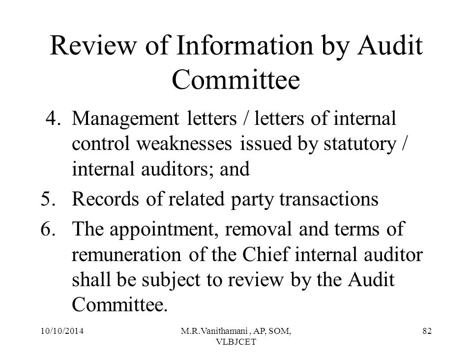 Review of Information by Audit Committee