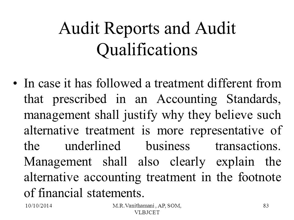 Audit Reports and Audit Qualifications