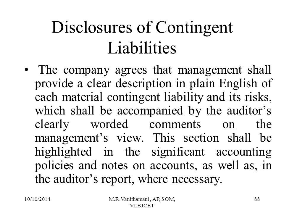 Disclosures of Contingent Liabilities