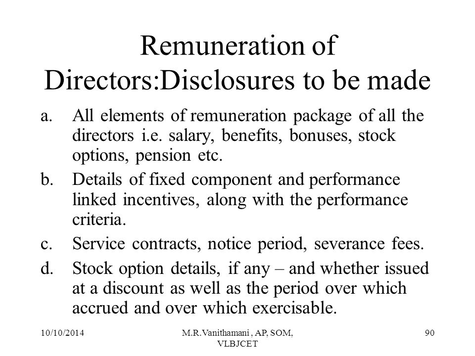 Remuneration of Directors:Disclosures to be made