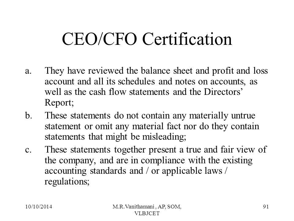 CEO/CFO Certification