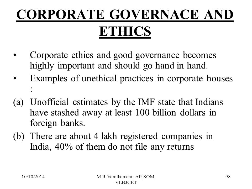 CORPORATE GOVERNACE AND ETHICS