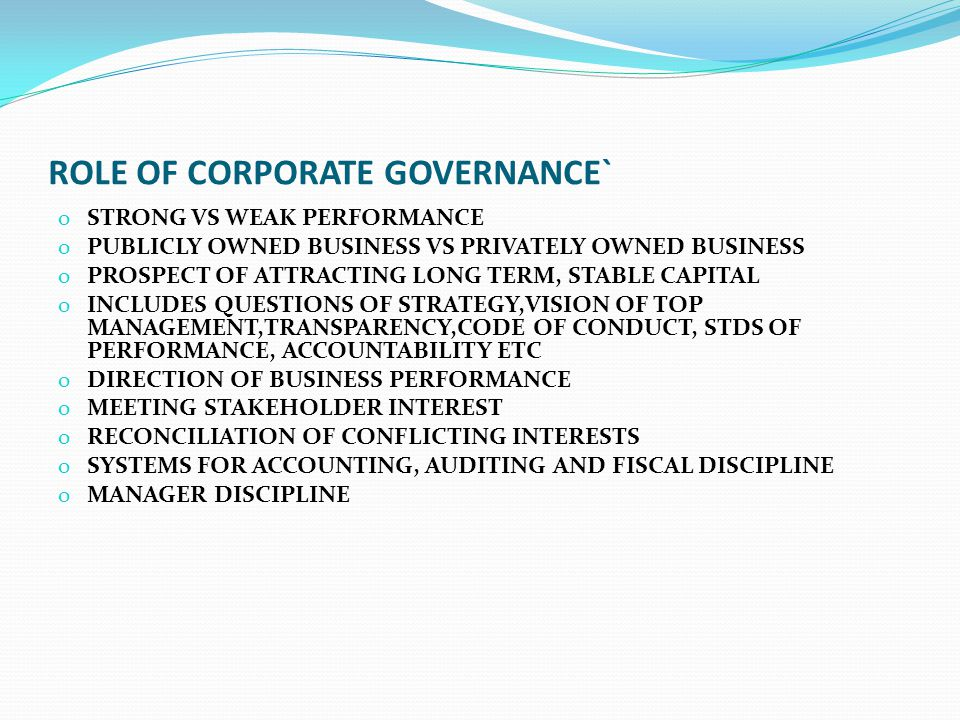 ROLE OF CORPORATE GOVERNANCE`