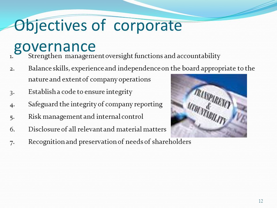 Objectives of corporate governance