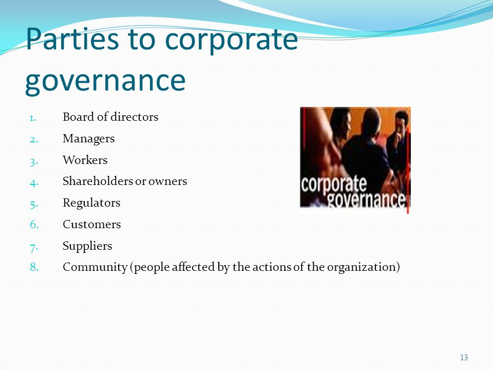 Parties to corporate governance