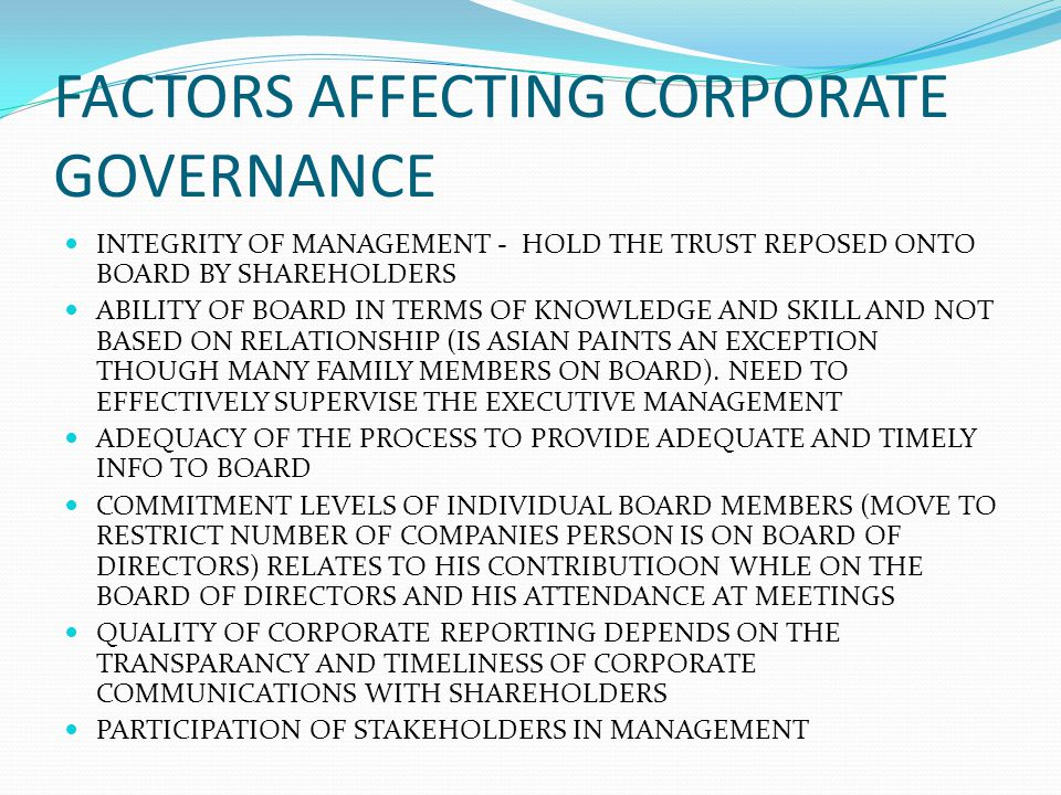 FACTORS AFFECTING CORPORATE GOVERNANCE