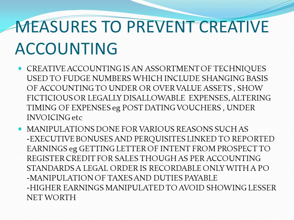 MEASURES TO PREVENT CREATIVE ACCOUNTING