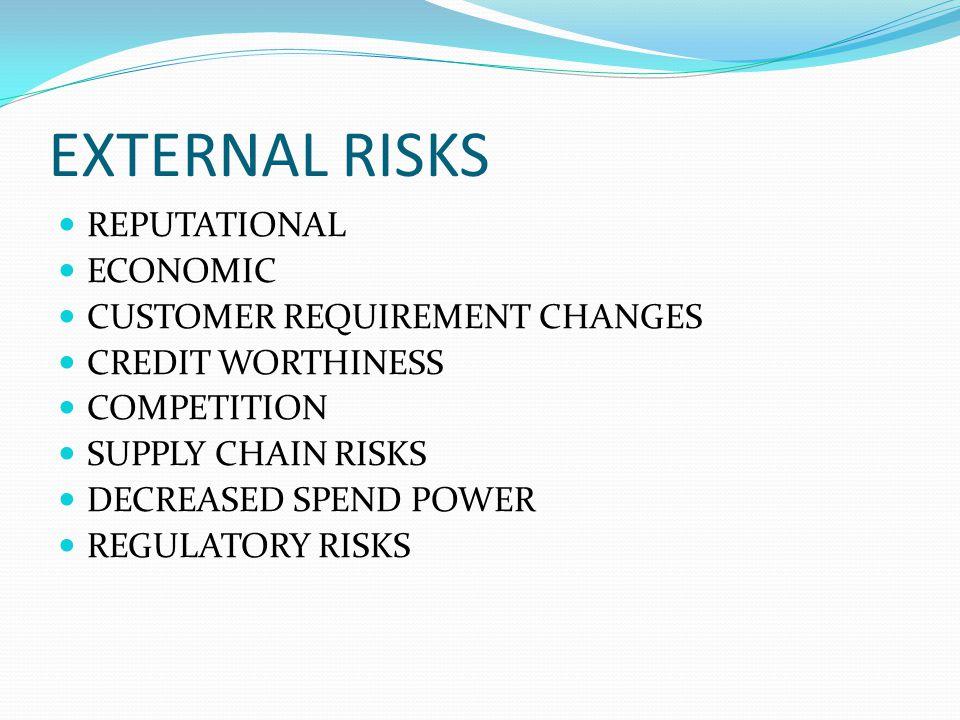 EXTERNAL RISKS REPUTATIONAL ECONOMIC CUSTOMER REQUIREMENT CHANGES