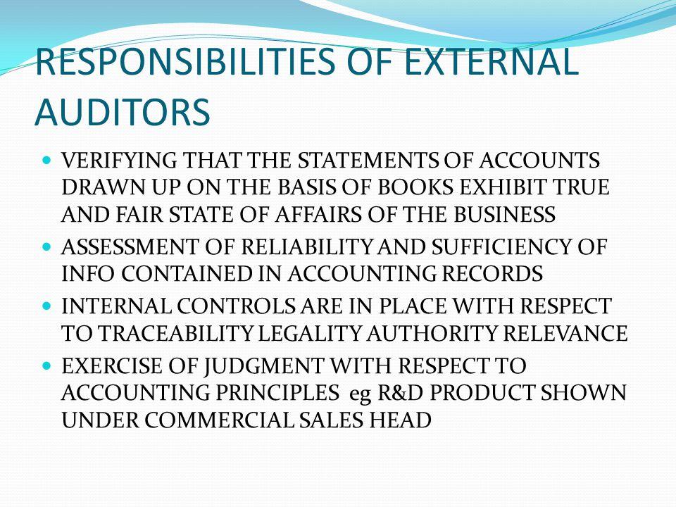 RESPONSIBILITIES OF EXTERNAL AUDITORS
