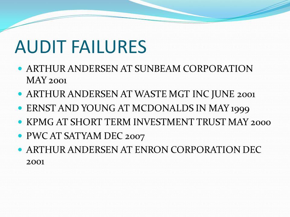 AUDIT FAILURES ARTHUR ANDERSEN AT SUNBEAM CORPORATION MAY 2001