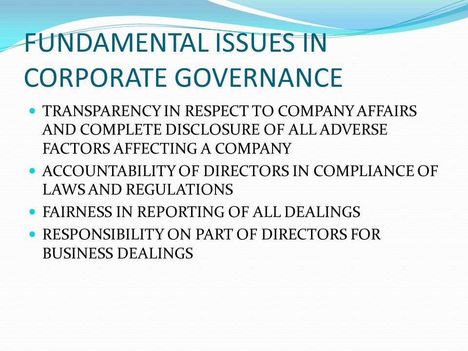 FUNDAMENTAL ISSUES IN CORPORATE GOVERNANCE