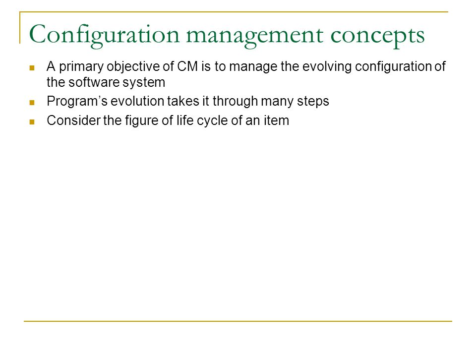Configuration management concepts