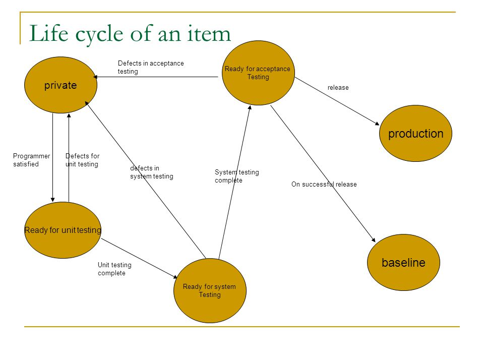 Life cycle of an item production baseline private
