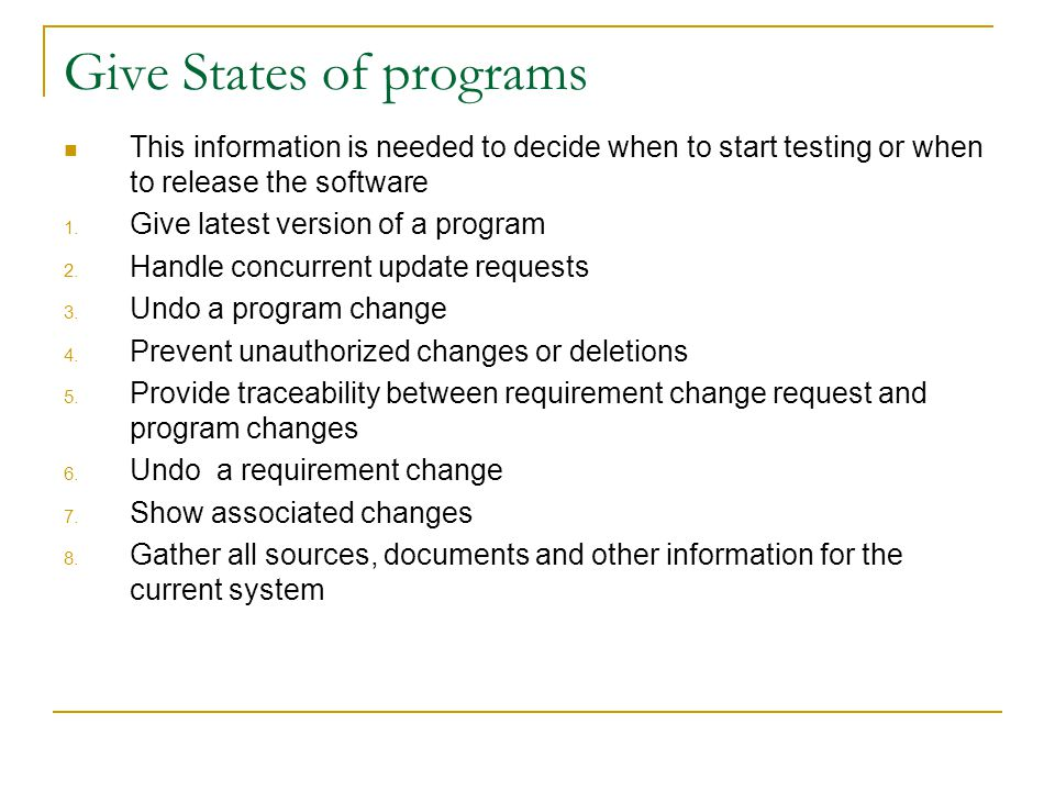 Give States of programs